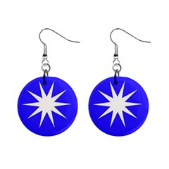 Deep Blue And White Star Mini Button Earrings by Colorfulart23