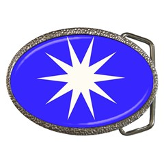 Deep Blue And White Star Belt Buckle (oval) by Colorfulart23