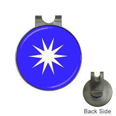 Deep Blue And White Star Hat Clip With Golf Ball Marker