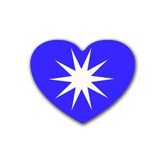 Deep Blue And White Star Drink Coasters (heart) by Colorfulart23
