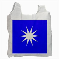 Deep Blue And White Star Recycle Bag (two Sides) by Colorfulart23