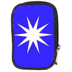 Deep Blue And White Star Compact Camera Leather Case