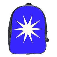 Deep Blue And White Star School Bag (large) by Colorfulart23