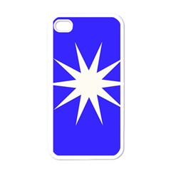 Deep Blue And White Star Apple Iphone 4 Case (white) by Colorfulart23