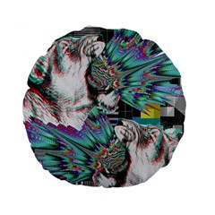 Lioness Glitch 15  Premium Round Cushion  by Contest1831200