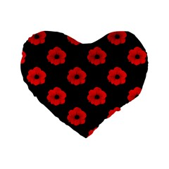 Poppies 16  Premium Heart Shape Cushion  by Contest1879409