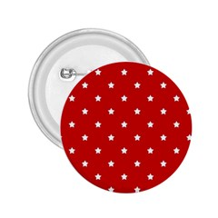 White Stars On Red 2 25  Button