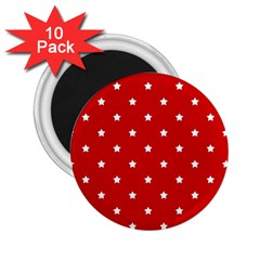 White Stars On Red 2 25  Button Magnet (10 Pack)