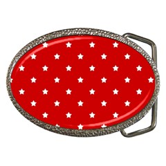 White Stars On Red Belt Buckle (oval) by StuffOrSomething
