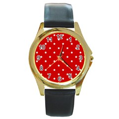 White Stars On Red Round Leather Watch (gold Rim)  by StuffOrSomething