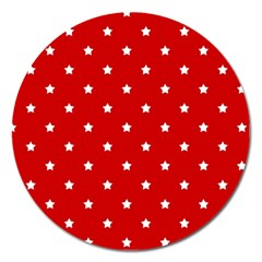 White Stars On Red Magnet 5  (round)