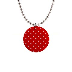 White Stars On Red Button Necklace