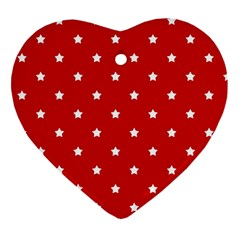 White Stars On Red Heart Ornament (two Sides) by StuffOrSomething