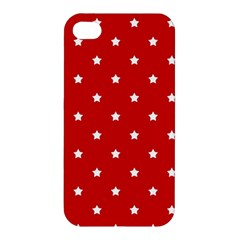 White Stars On Red Apple Iphone 4/4s Hardshell Case by StuffOrSomething