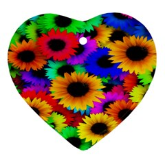 Colorful Sunflowers Heart Ornament (two Sides) by StuffOrSomething