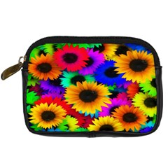 Colorful Sunflowers Digital Camera Leather Case by StuffOrSomething