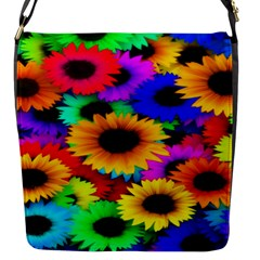 Colorful Sunflowers Flap Closure Messenger Bag (small) by StuffOrSomething