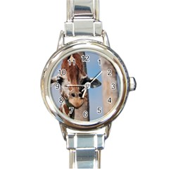 Cute Giraffe Round Italian Charm Watch