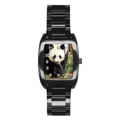Giant Panda Stainless Steel Barrel Watch by AnimalLover