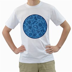 Through The Microscope - Blue Men s T-shirt (white)  by skepticool