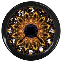 Yellow Purple Lotus Mandala Wall Clock (black) by Zandiepants