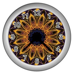 Yellow Purple Lotus Mandala Wall Clock (silver) by Zandiepants