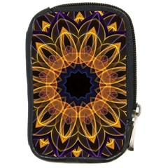 Yellow Purple Lotus Mandala Compact Camera Leather Case by Zandiepants