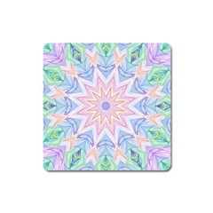 Soft Rainbow Star Mandala Magnet (square) by Zandiepants
