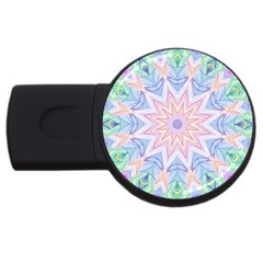Soft Rainbow Star Mandala 2gb Usb Flash Drive (round) by Zandiepants