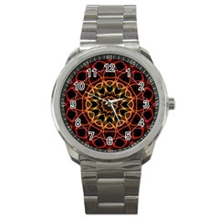Yellow And Red Mandala Sport Metal Watch by Zandiepants