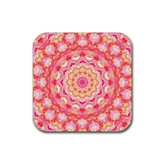 Yellow Pink Romance Drink Coaster (square) by Zandiepants