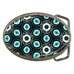 Pale Blue Elegant Retro Belt Buckle (oval) by Colorfulart23