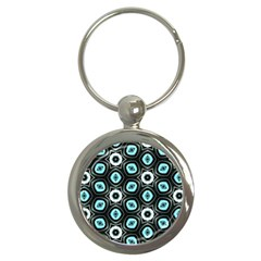 Pale Blue Elegant Retro Key Chain (round) by Colorfulart23