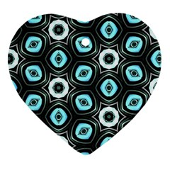 Pale Blue Elegant Retro Heart Ornament (two Sides) by Colorfulart23