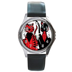 Cool Cats Round Leather Watch (silver Rim) by StuffOrSomething