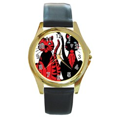 Cool Cats Round Leather Watch (gold Rim)  by StuffOrSomething