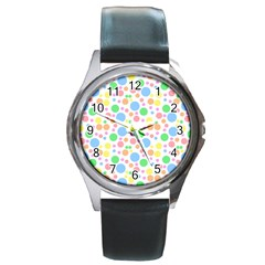 Pastel Bubbles Round Leather Watch (silver Rim) by StuffOrSomething