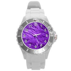 Purple Tresses Plastic Sport Watch (large) by FunWithFibro