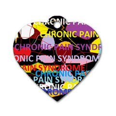 Chronic Pain Syndrome Dog Tag Heart (one Sided)  by FunWithFibro