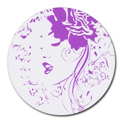 Purple Woman Of Chronic Pain 8  Mouse Pad (round) by FunWithFibro