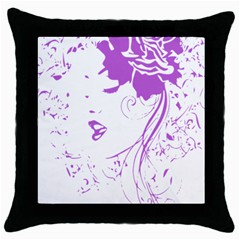 Purple Woman Of Chronic Pain Black Throw Pillow Case