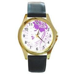 Purple Woman Of Chronic Pain Round Leather Watch (gold Rim)