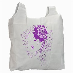 Purple Woman Of Chronic Pain White Reusable Bag (one Side) by FunWithFibro