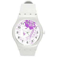 Purple Woman Of Chronic Pain Plastic Sport Watch (medium)