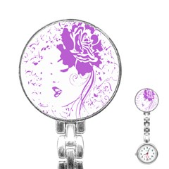 Purple Woman Of Chronic Pain Stainless Steel Nurses Watch