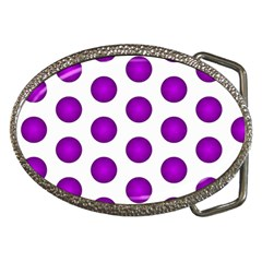 Purple And White Polka Dots Belt Buckle (oval) by Colorfulart23