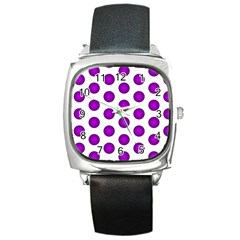 Purple And White Polka Dots Square Leather Watch by Colorfulart23