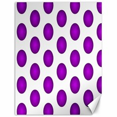 Purple And White Polka Dots Canvas 12  X 16  (unframed) by Colorfulart23
