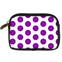 Purple And White Polka Dots Digital Camera Leather Case by Colorfulart23