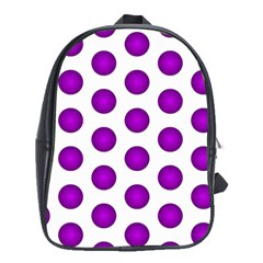 Purple And White Polka Dots School Bag (xl)